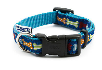 Ancol Dog Fashion Adjustable Nylon Collar / Lead Blue Bone Small Medium Large