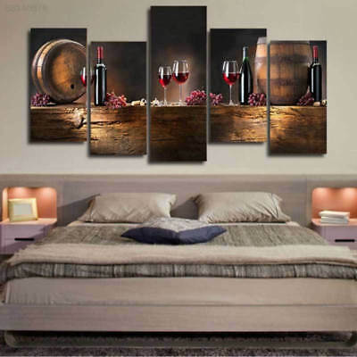 F00A 5Pcs/set Vintage Canvas Casks Wine Wall Pictures Paintings Wall Home Decor