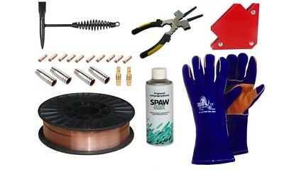 Welding set MIG Wire, Contact tip, Gas nozzle, Tip holder, Hammer, Spray, Gloves