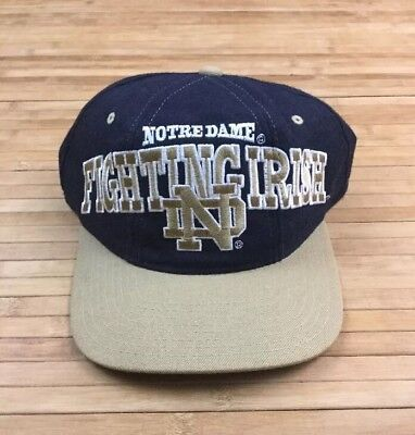 Vintage Notre Dame Fighting Irish Tri Power Snapback Hat 100% Wool Indiana