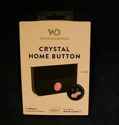 Crystal Home Button White Diamonds - Two Colors Pink & Crystal   iPhone