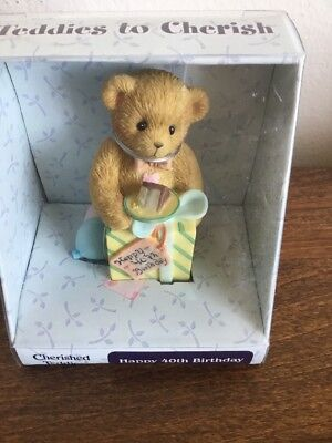 Cherished Teddies Happy 40th Birthday Bear Age 40 2004 Enesco Figure Cherish NEW