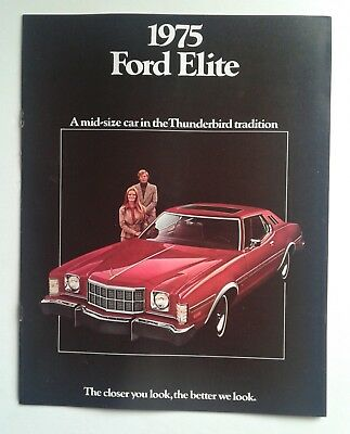 Vintage Ford Elite 1975 Car Dealer Brochure Catalog Auto Literature w/change