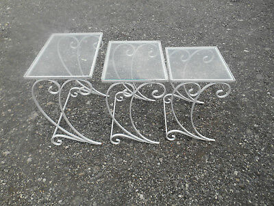 3 Rare Vintage Wrought Iron Patio Nesting Tables w Glass Tops Salterini???
