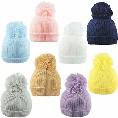 Baby Pom Pom Hat Bobble Beanie Double Knitted Boy Girl Infant Newborn-12 Months