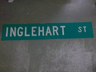 "Large Original Inglehart St Street Sign 48"" X 12"" White Lettering On Green"