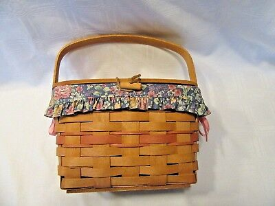 Longaberger 1991 Lidded  Mothers Day Basket Liner Protector  Insert Purse Combo