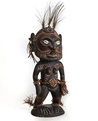 Papua New Guinea Wood Carved Female Figure, Sepik River? Painted black, red