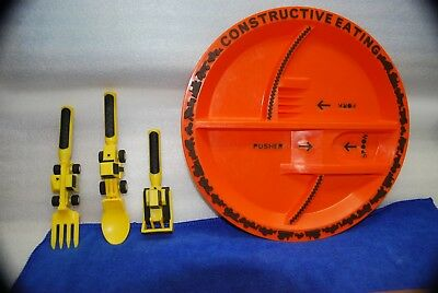 Kids Constructive Eating Set: Construction Zone Plate with Spoon, Fork & Pusher