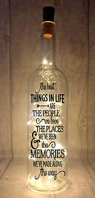 Best things in life are people Novelty Light Up Wine Bottle Present Gift idea