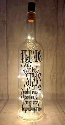 Friends are like stars Novelty Light Up Wine Bottle Present Gift idea