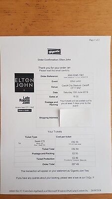Elton John Cardiff 15th June 2019 Ticket Block 103 - Genuine Seller & Ticket