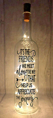 It's The Friends We Meet Along The Way Light Up Wine Bottle Present Gift idea