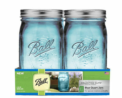 NEW BALL Wide Mouth Elite Color Series Blue Collection Mason 4 Quart Jars NIB