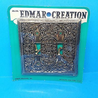 vintage edmar creation brass (2) dual switch plate cover nos in orig package