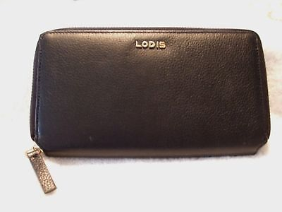 f29be441c2ab NEW LODIS ITALIAN Leather Zip Around Wallet, BLACK,-RFID TECHNOLOGY ...