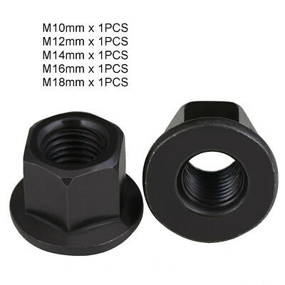 5Pcs M10 12 14 16 18 Black Oxide Steel Non Serrated Nyloc Flange Nuts Grade 4.8