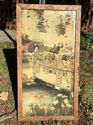 Antique Japanese Silk Geisha Girls Coy Fish Pond Watercolor Painting Seal Signed