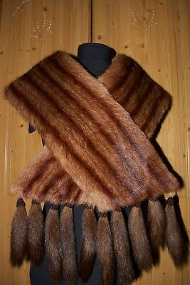 1920's Vintage Super Soft Real Fur Stole, Red-Brown (RRP £120)