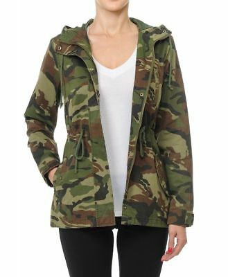 Women's  Camouflage Anorak Military Camo Drawstring  Hooded Jacket (S-L)