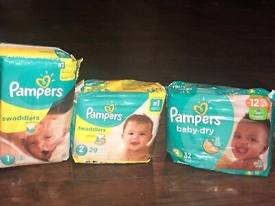 pampers diapers lot 96 total diapers size 1,2,3 swaddlers and baby dry