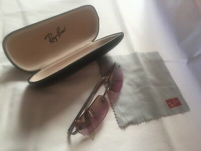 82d6c7b784f authentic Ray Ban lovely unisex sunglasses rare rose rimless rectangles  RB3192