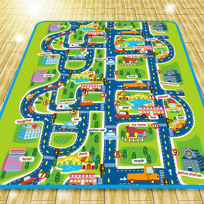 Infant Baby Kids Crawling Car City Traffic Game Floor Play Mat Rug Carpet Toy UK