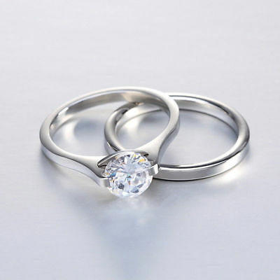 3c7ad8f2735 WOMEN'S STAINLESS STEEL Gold Cut CZ Wedding Engagement Rings Band ...