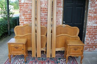 French Oak  Pair of Twin Beds & 2 Matching Nightstands | Bedroom Furniture Set