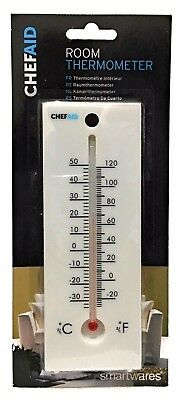 Chef Aid Room Thermometer Carded Easy Install White for Monitoring Temperature