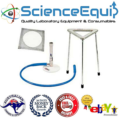 Bunsen Burner with Tripod Stand, Rubber Tubing & Wire Gauze Mat, 4 Pc BURNER KIT
