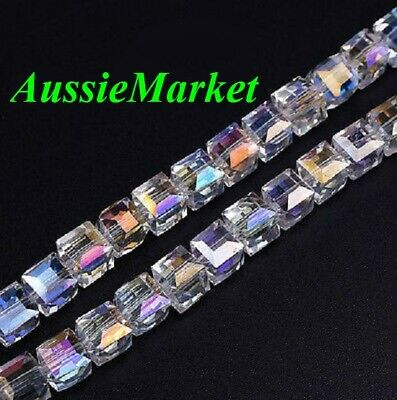 30 x square cube beads crystal glass prism faceted 8mm clear ab colour jewelry