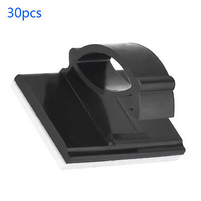 30Pcs Self-adhesive Car Wire Clips Tie Rectangle Cable Holder Clamps Black Kit