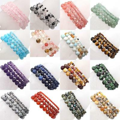 Handmade Natural Stone Gemstone Round Beads Stretch Bracelet 4MM 6MM 8MM 10MM