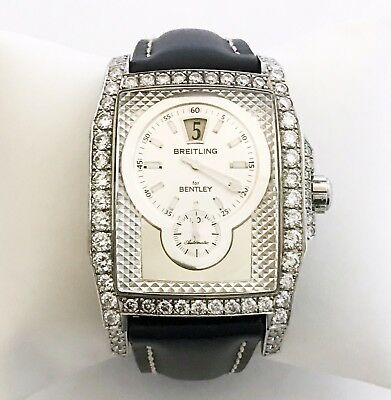 Breitling Bentley Flying B Steel Automatic Diamond Jump Hour Mens Watch A28362