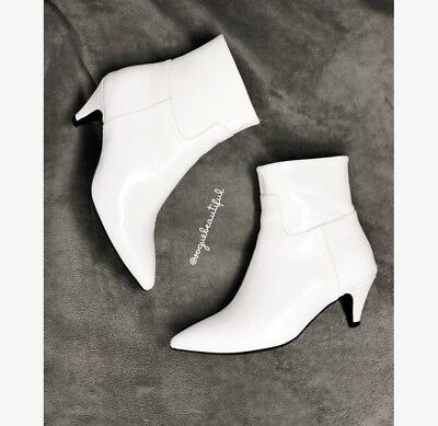 2e5a44e8bf JEFFREY CAMPBELL MUSE White Kitten Heel Booties Leather EUC 5.5 ...