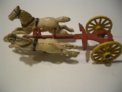 Antique Cast Iron Horse Carriage Wagon Yellow/White/Red