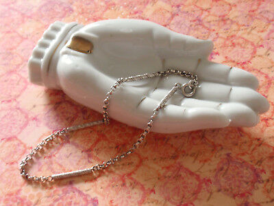 Vintage Art Deco Sterling Silver Fancy Bar Link Chain Ankle Bracelet Anklet 9""