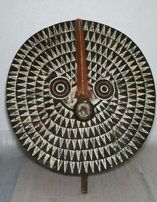 Vintage African Bobo Bwa Sun Tribal Mask - Hand Carved Wooden Round Wall Hanging