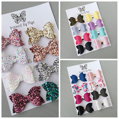 Baby Girls Newborn Toddler Leather Small Bow Nylon Headband Piggy Hair Clip