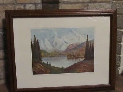 """Dwight D. Eisenhower """"Mountain Lake""""  Oil Painting Reproduction 1968"""
