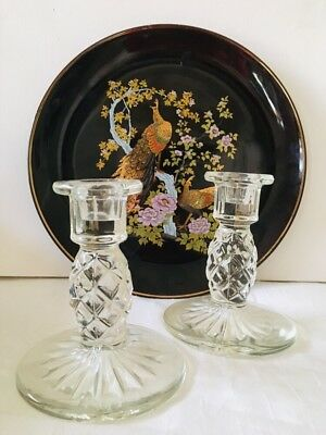 Vintage Pressed Glass Diamond Cut Candle Stick Holders