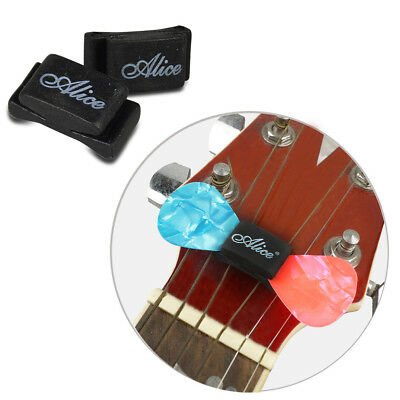 2 Guitar Pick Holder + 2 FREE Guitars Picks Plectrums Celluloid New
