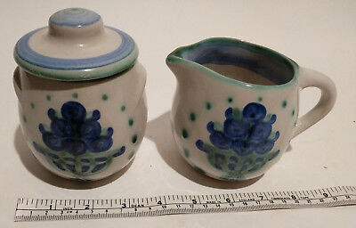 "M A Hadley ""Bouquet"" Creamer and Sugar Set"