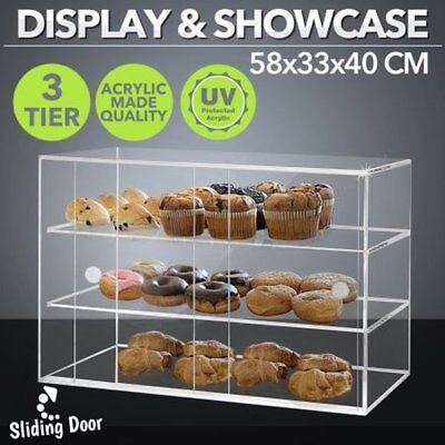 NEW 5mm Thick Clear Acrylic Deluxe Large Cake Display Cabinet Food Storage