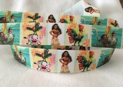 "Moana Grosgrain Ribbon 1"" sold by 2 M -Craft- Hair bows-Lanyards-cake"