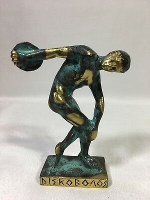 HandMade Katritsis Patina Solid Bronze DISCOBOL Figurine Statue-Made In Greece