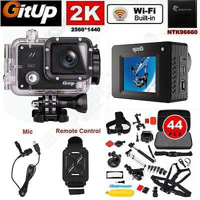 Gitup Git2 2K Wifi 16MP Bike Helmet Sports Camera+Mic+Remote+44 Pcs Accessories