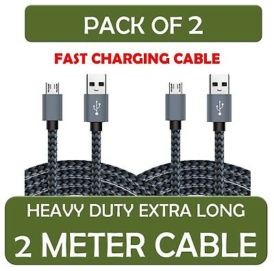 Heavy Duty Micro USB Cable 2-Pack Nylon Braided for Samsung Galaxy S6 S7 - 1M&2M