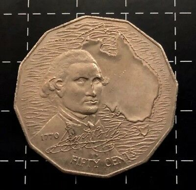 1970 Australian 50 Cent Coin - Captain Cook